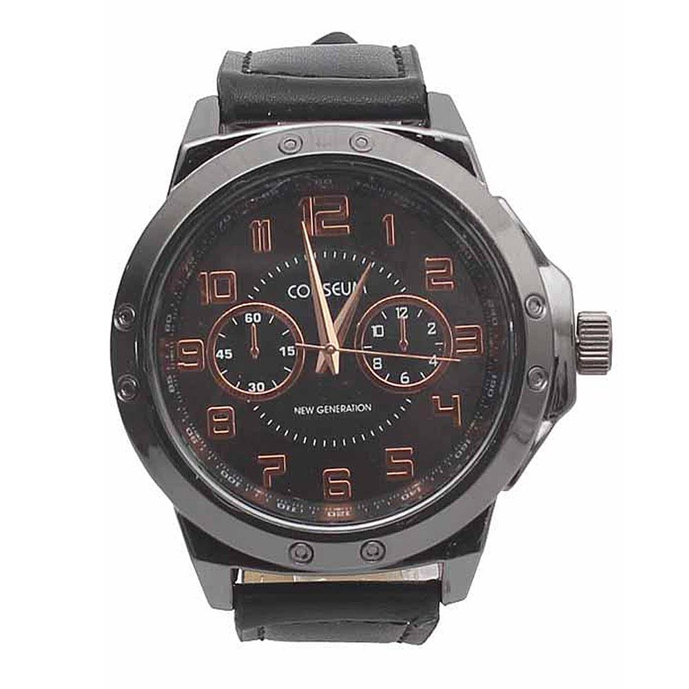 Coliseum Beaver Black Leather Mens Fashion Watch-
