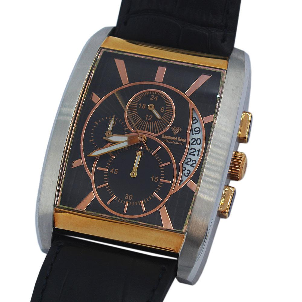 DR 5ATM 2-Tone Black Leather Chronograph Watch
