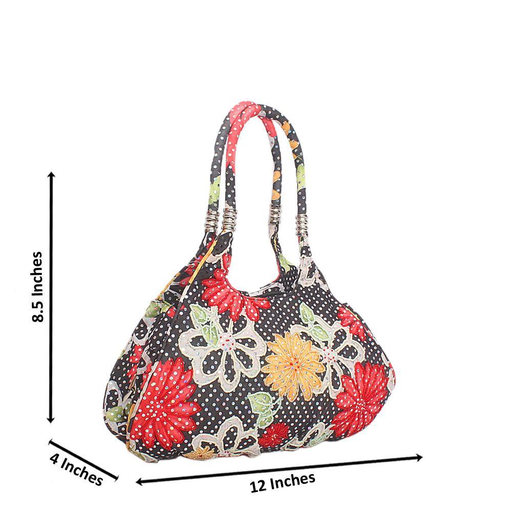 Black Mix Buttercup Studded Floral Fabric Shoulder Handbag