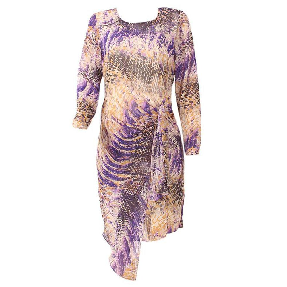 Twiggy M & S Woman Purple Mix S/Sleeve Chiffon Dress