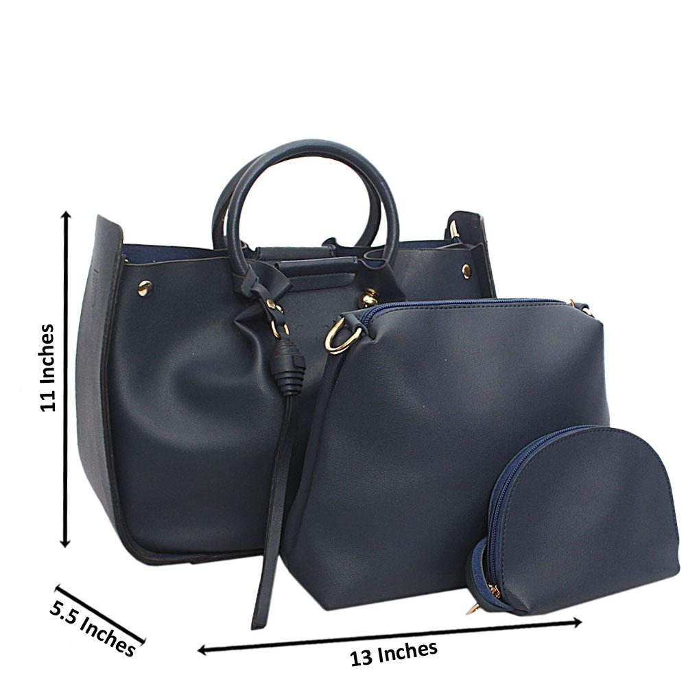 Navy Blue Leather Handbag Wt Peeling Handle