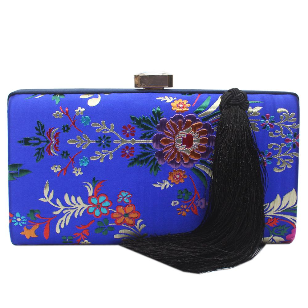 Royal Blue Floral Clutch Purse