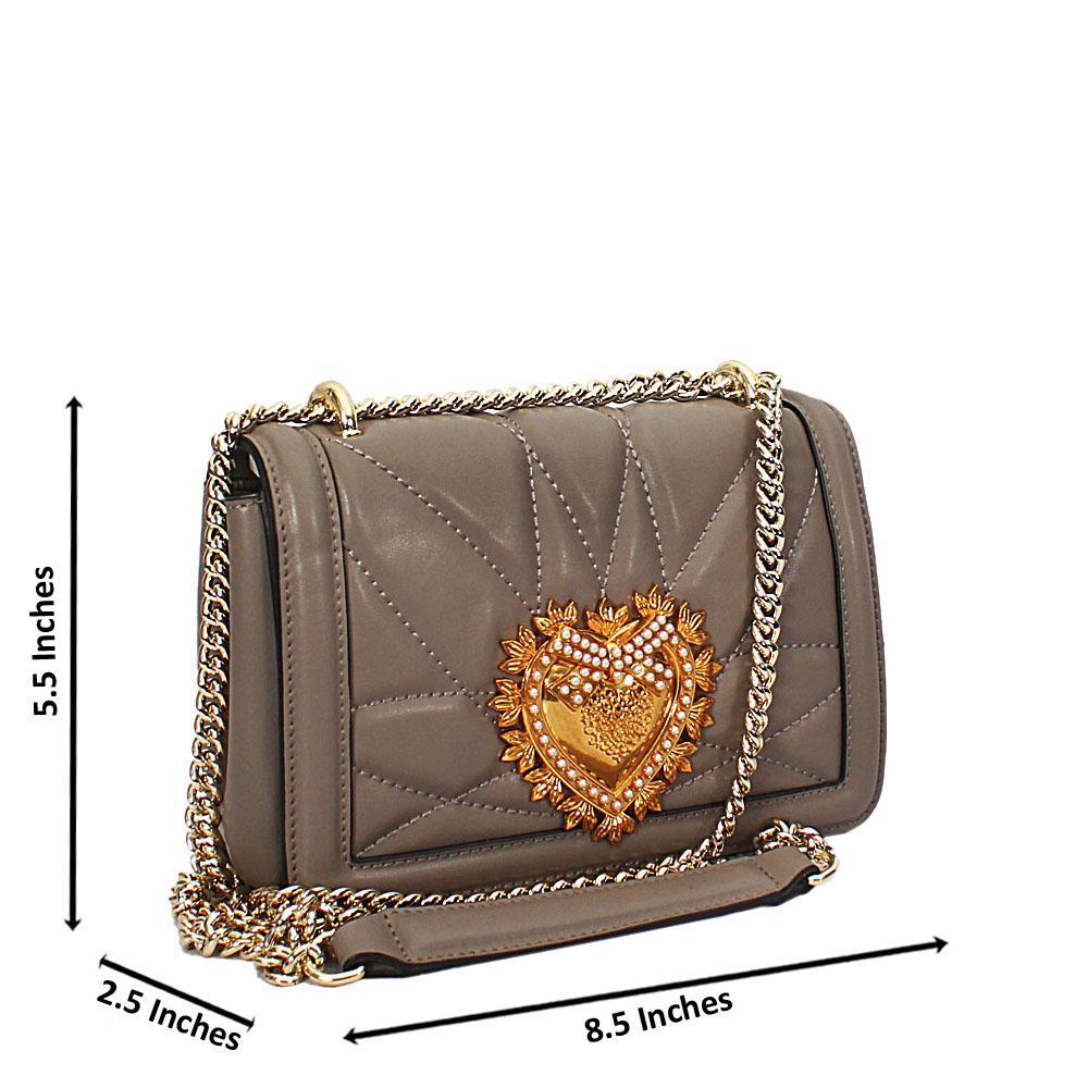 Gray Alessia Saffiano Leather Crossbody Handbag