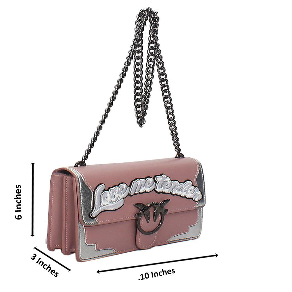 Pink Pinko Certilogo Calfskin Leather Crossbody Bag