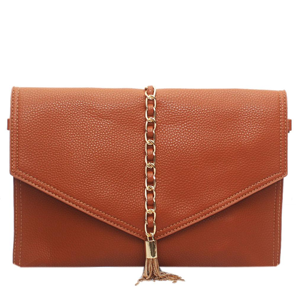 Brown Leather Silvolia Flat Purse Wt Chain Tassel