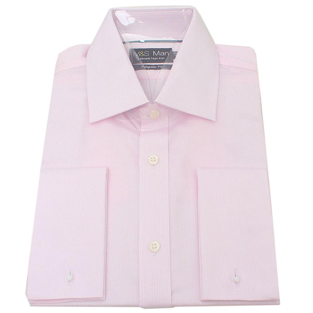 M&S Man Pink White Stripe Regular Fit L/Sleeve Men Shirt Wt Cuff