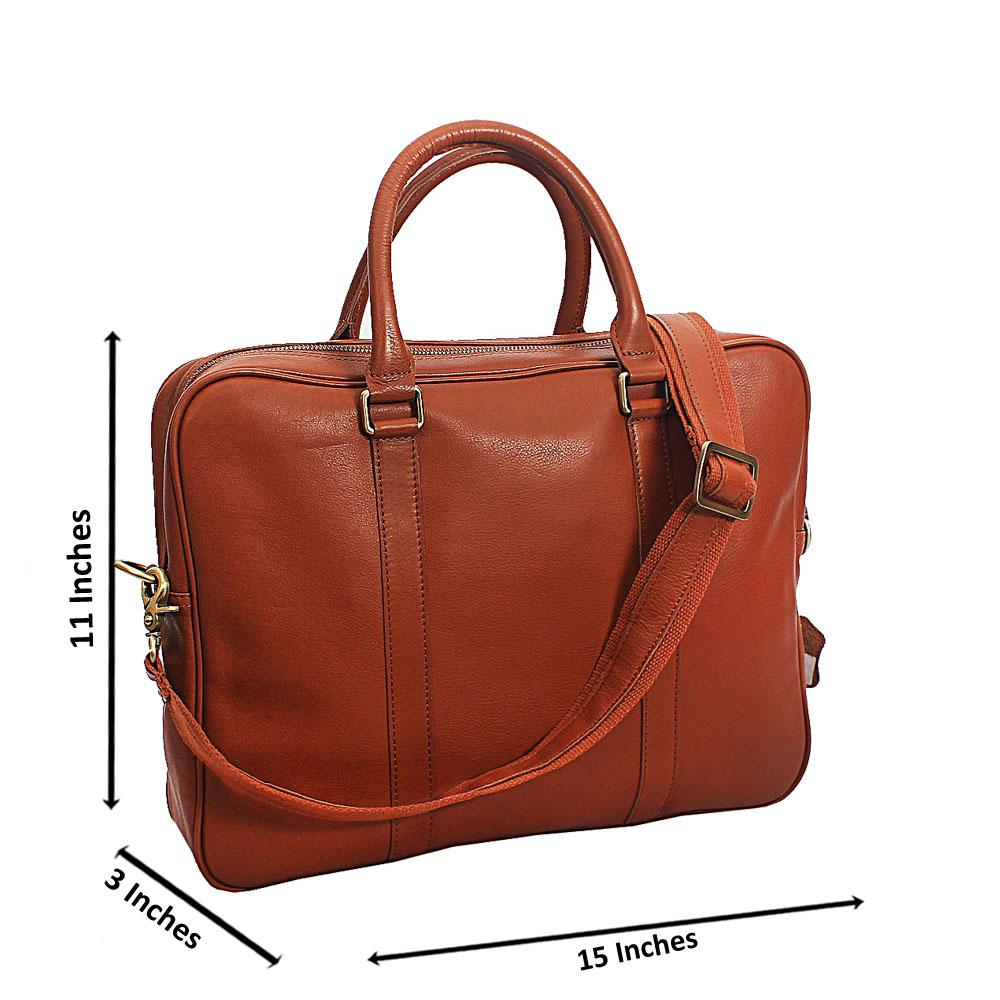 Light Brown Vinny Classic Smooth Grain Leather Briefcase