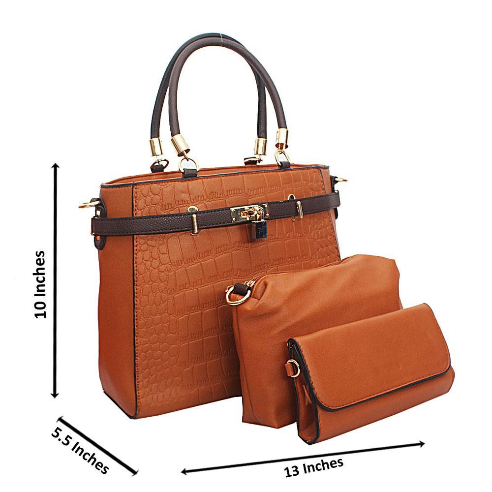 Brown Croc Leather Birkin Top Handle Handbag