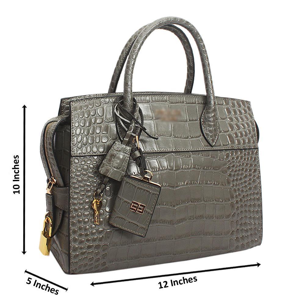 Gray Esplanade Croc Cowhide Leather Tote Handbag