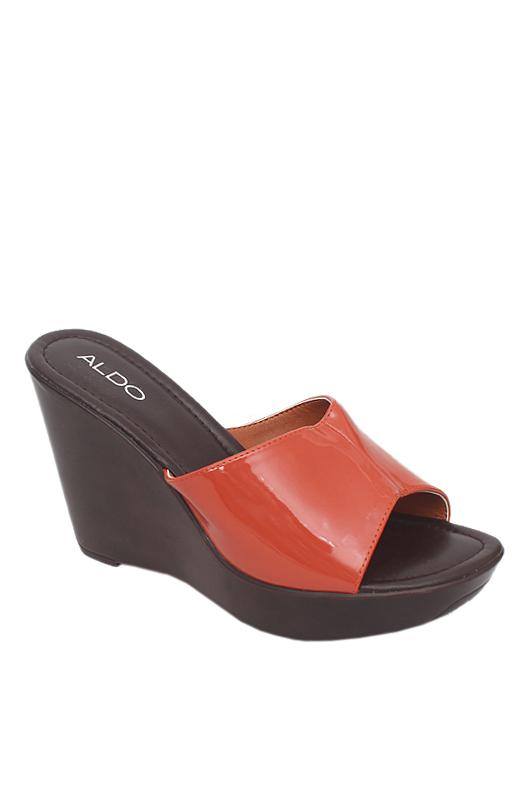 Aldo Orange Brown Leather Wedge Slipper