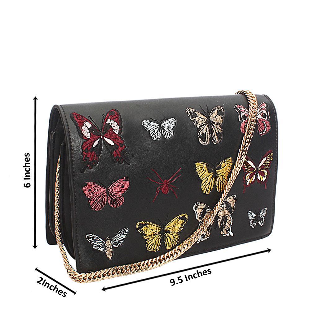 Swift Black Butterfly Leather Mini Crossbody Bag