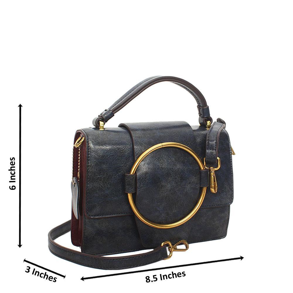 Navy Nicolette Leather Mini Top Handle Handbag
