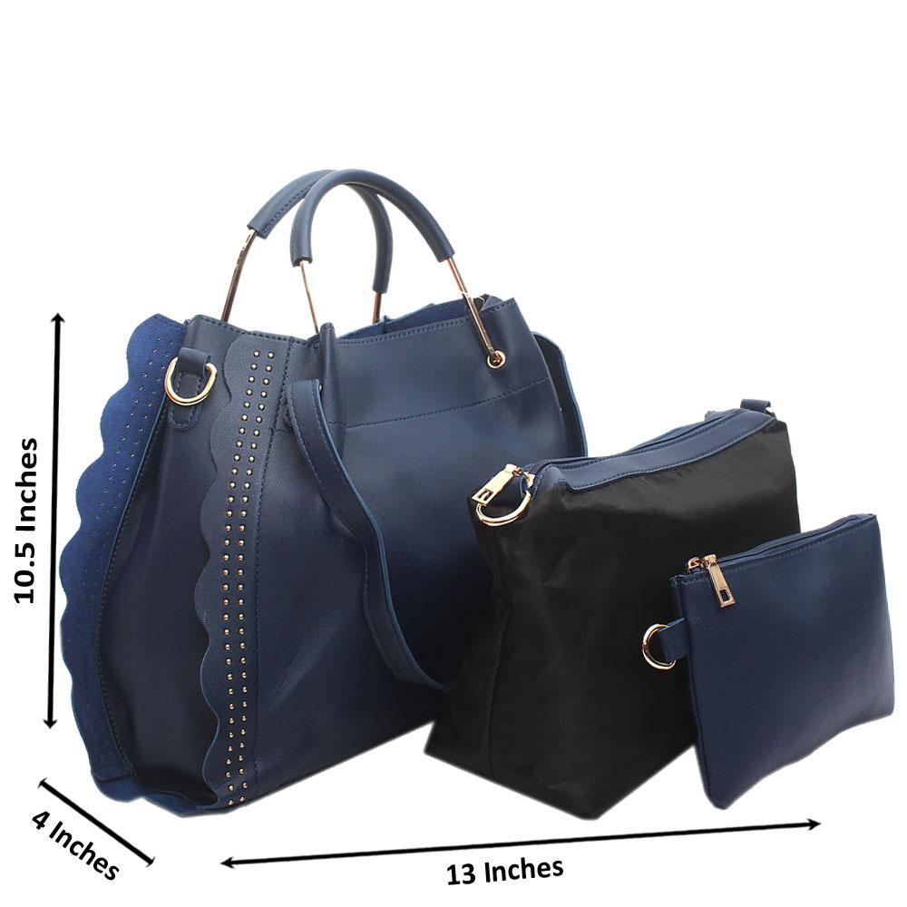 Blue Eva Leather Handbag