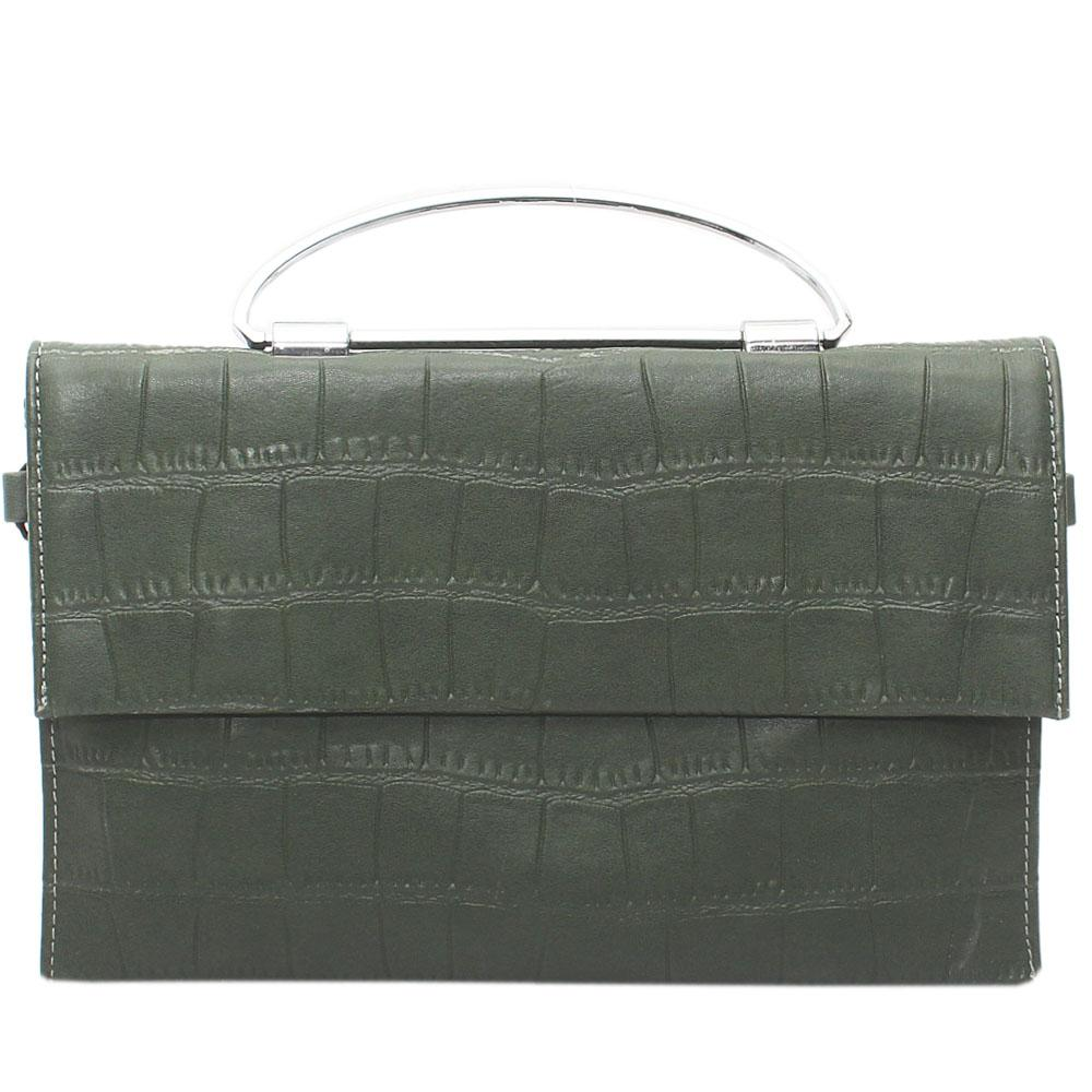 Green Thelia Croc Leather Flat Purse