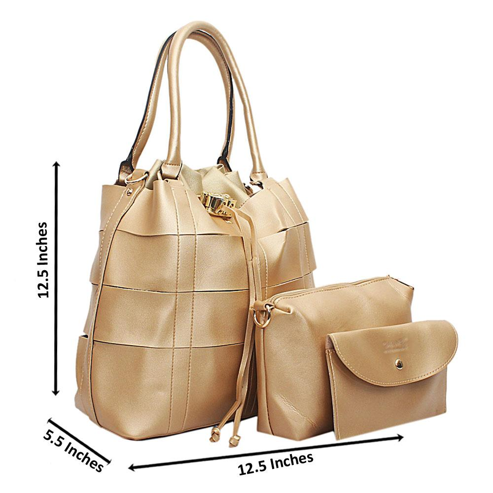 Gold Leather 3 in 1 Handbag