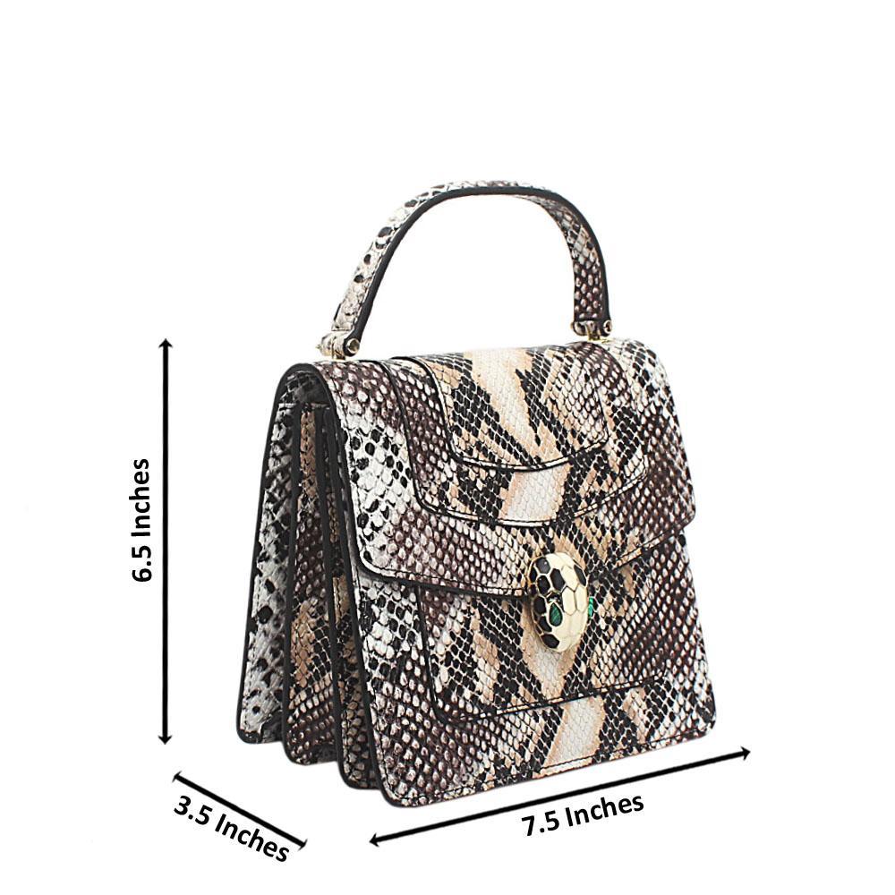 Brown Snake Skin Mini Handbag