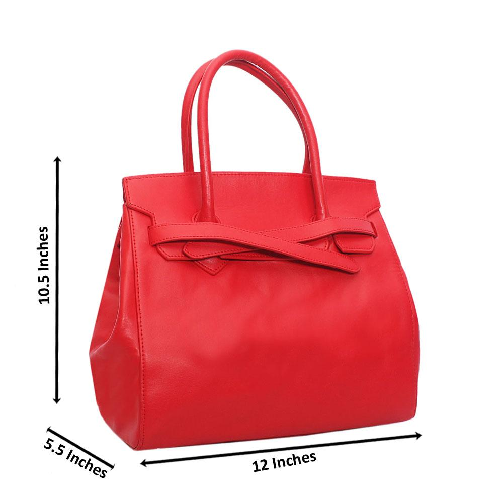 Red Belted Palazzo Cow Leather Handbag