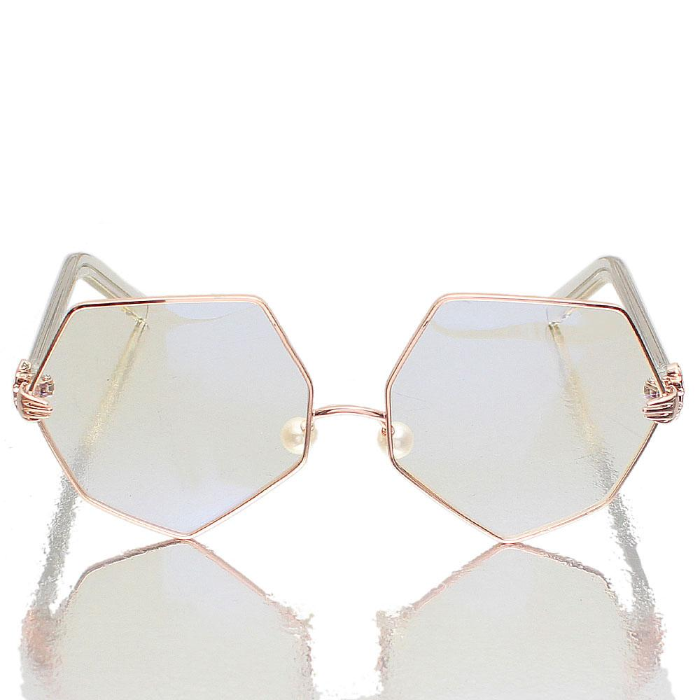 Gold-Heptagon-Clear-Lens-Glasses