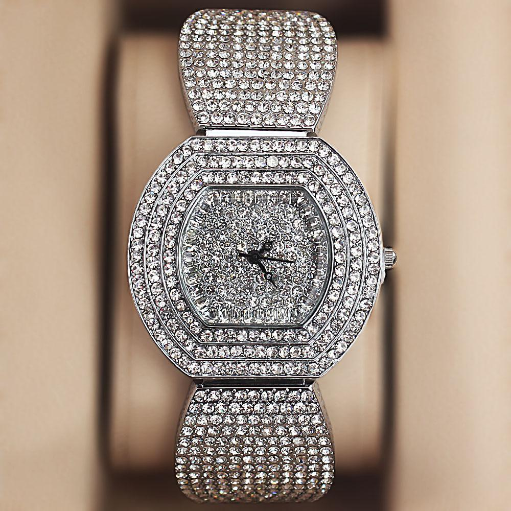 Stainless Steel Crystal Studded Ladies Watch
