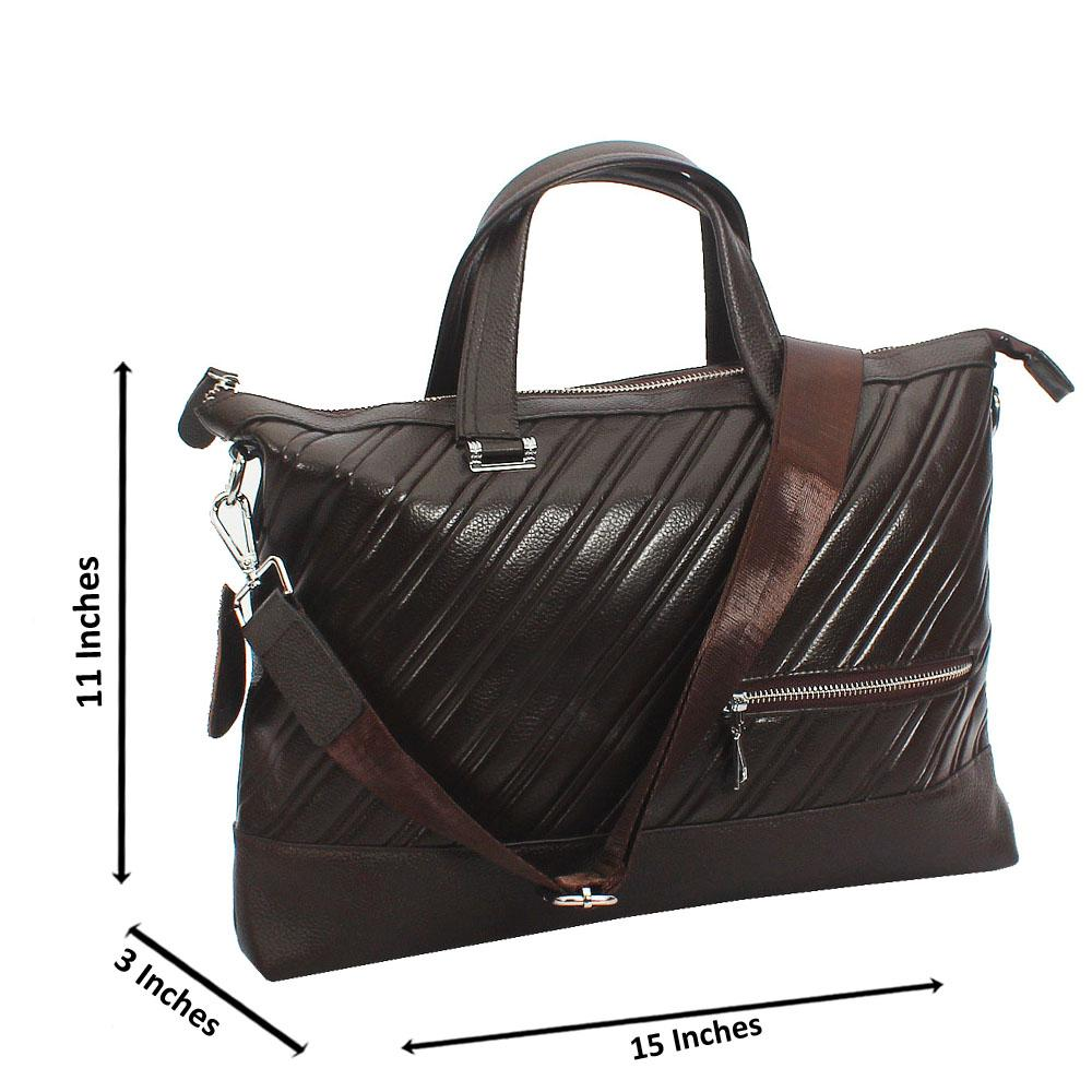 Brown Leo Printed Design Tuscany Leather Business Man Bag