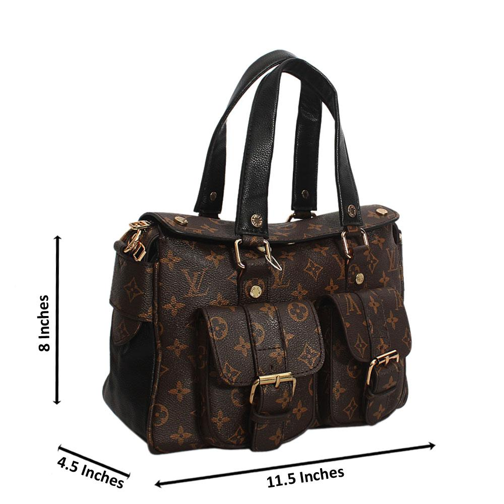 Brown Black Embossed Leather Small Tote Handbag wt 2 Front Pockets