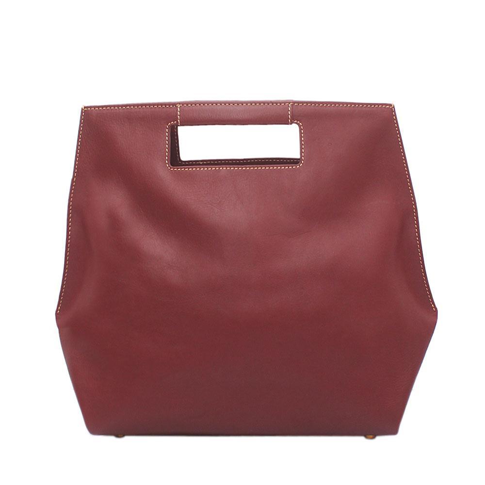 London Style Wine Saffiano Leather Handbag