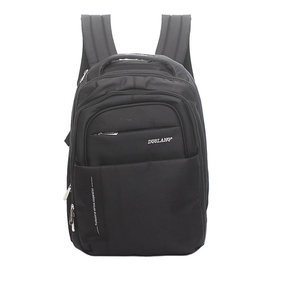 Duslang Black Fabric Laptop Backpack