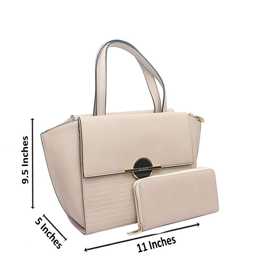 Susen Khaki Ocular Etched Leather Handbag