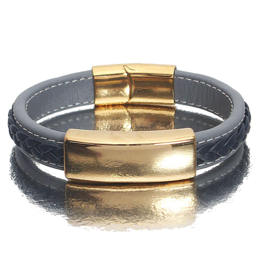 Gold Sky Navy  Leather Bracelet