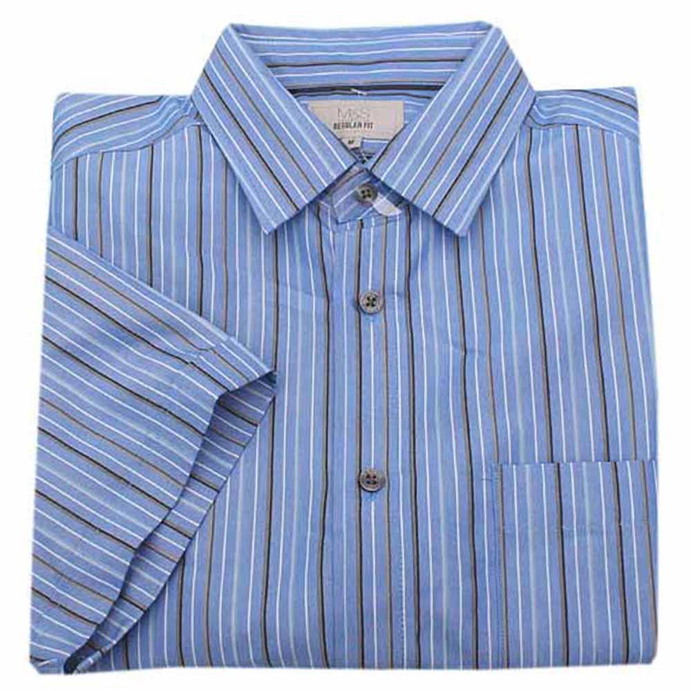 M&S Collection Blue Striped Regular Fit Men S/Sleeve Shirt