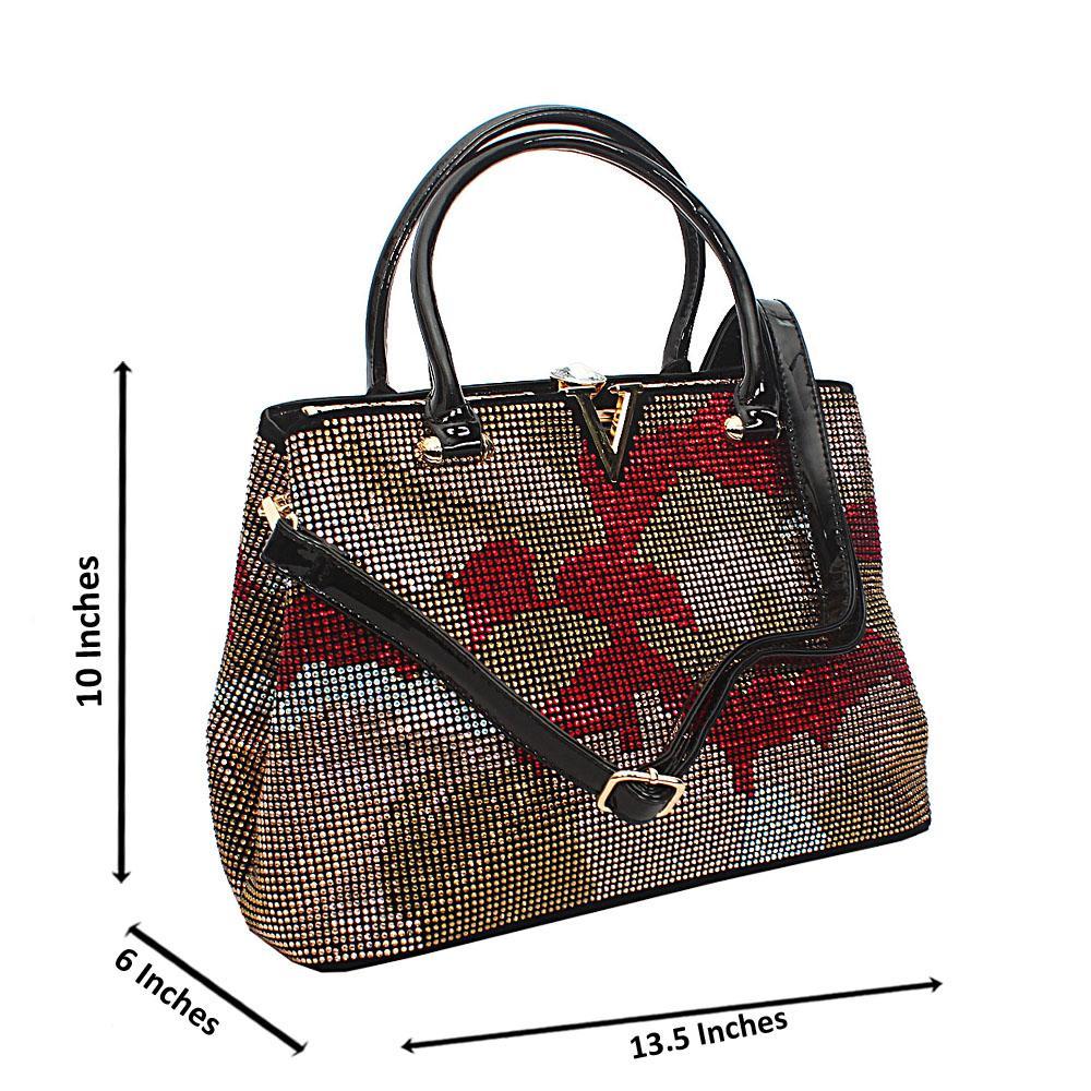 Black Red Mix Belinda Studs Suede Leather Tote Handbag