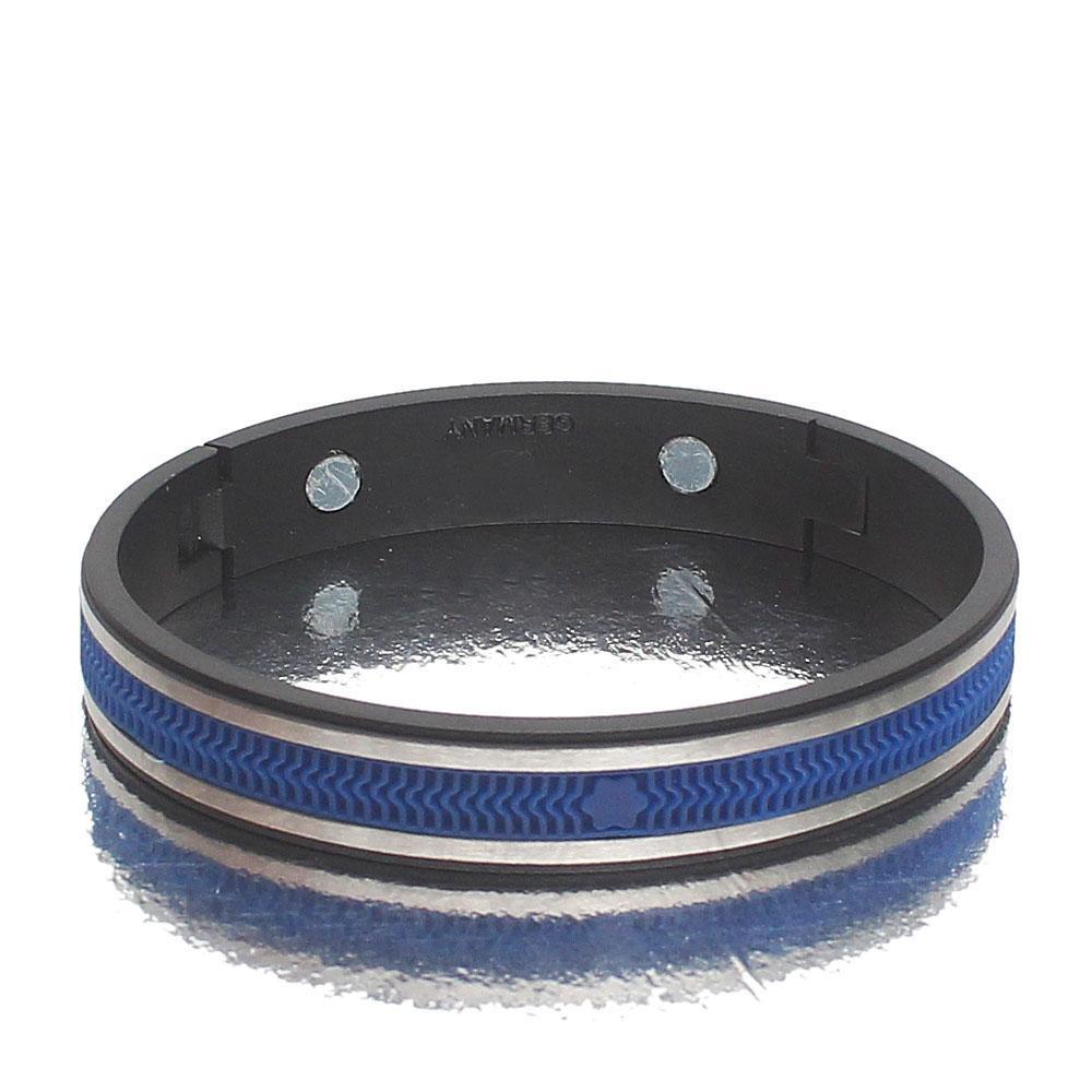 Blue Silver Black Steel Exotic Bracelet