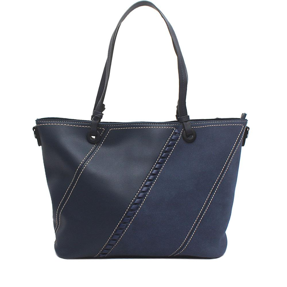 London Style Navy Suede Leather Tote Bag