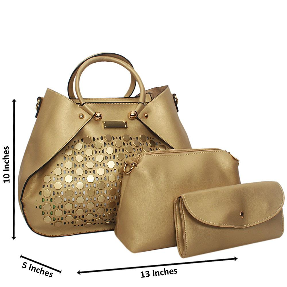 Gold Rose See Through Leather 3 in 1 Tote Handbag
