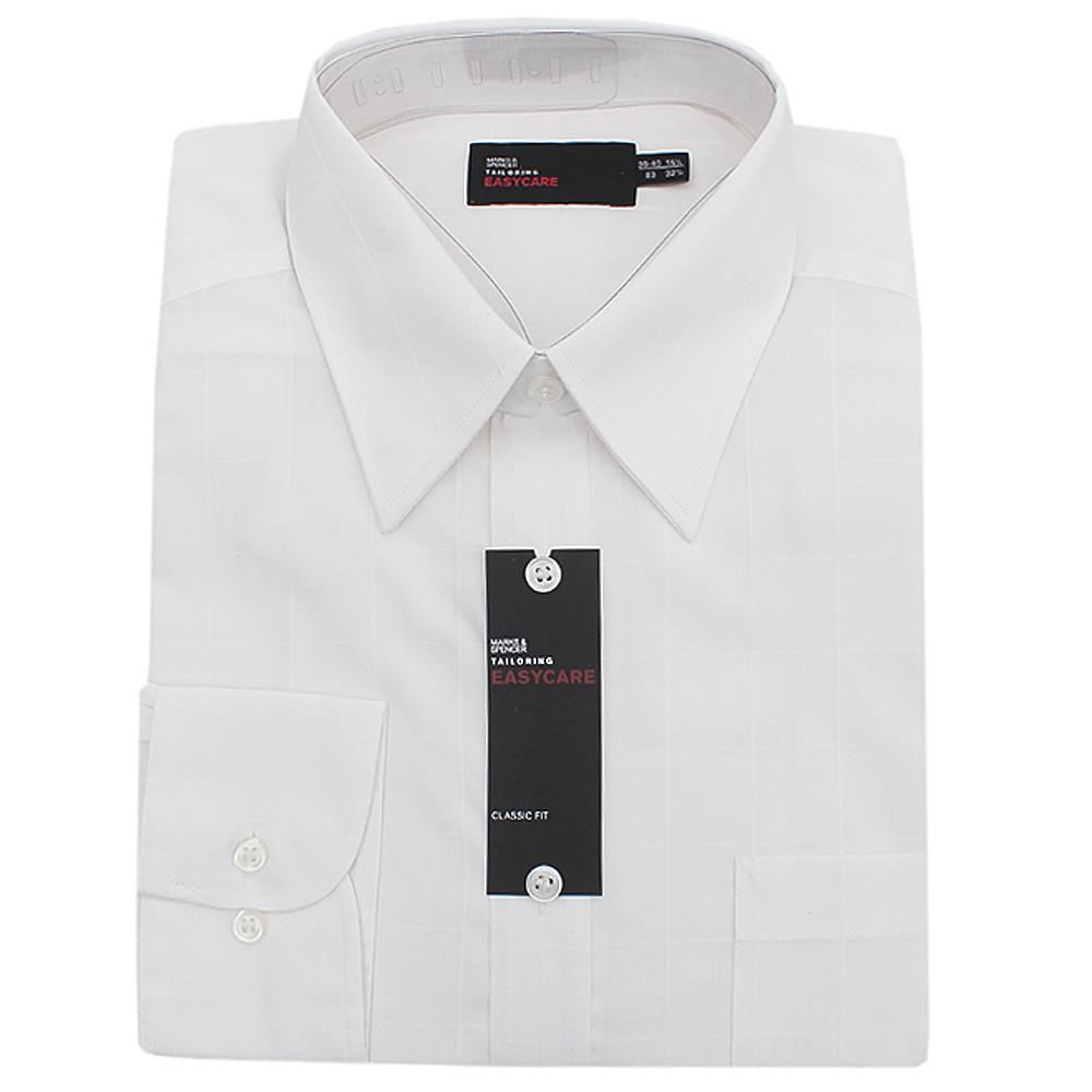 M&S Tailoring White Classic Fit L/Sleeve Men Shirt