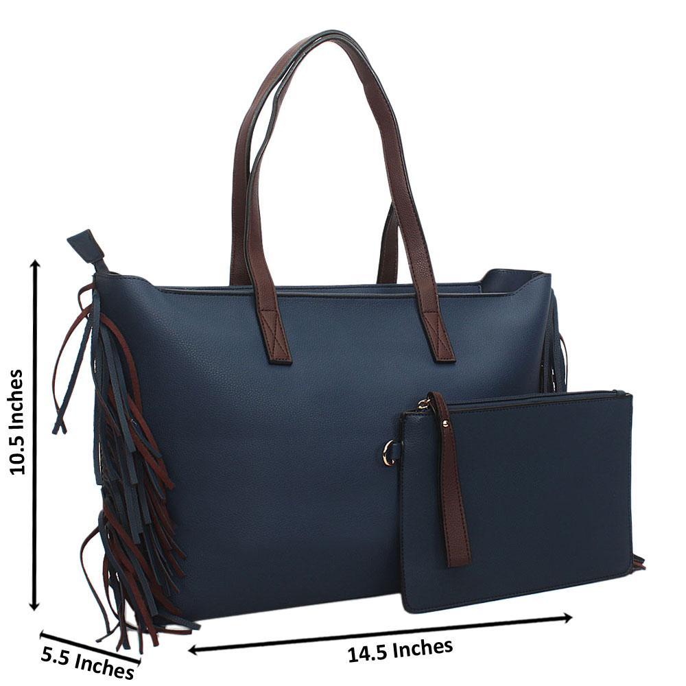 Blue Brown Nicolette Leather Tote Handbag