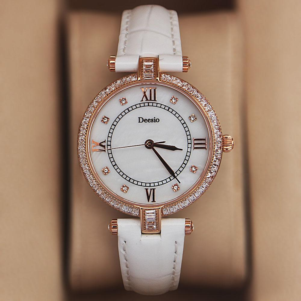Deesio Gold Studded White Leather Ladies Watch
