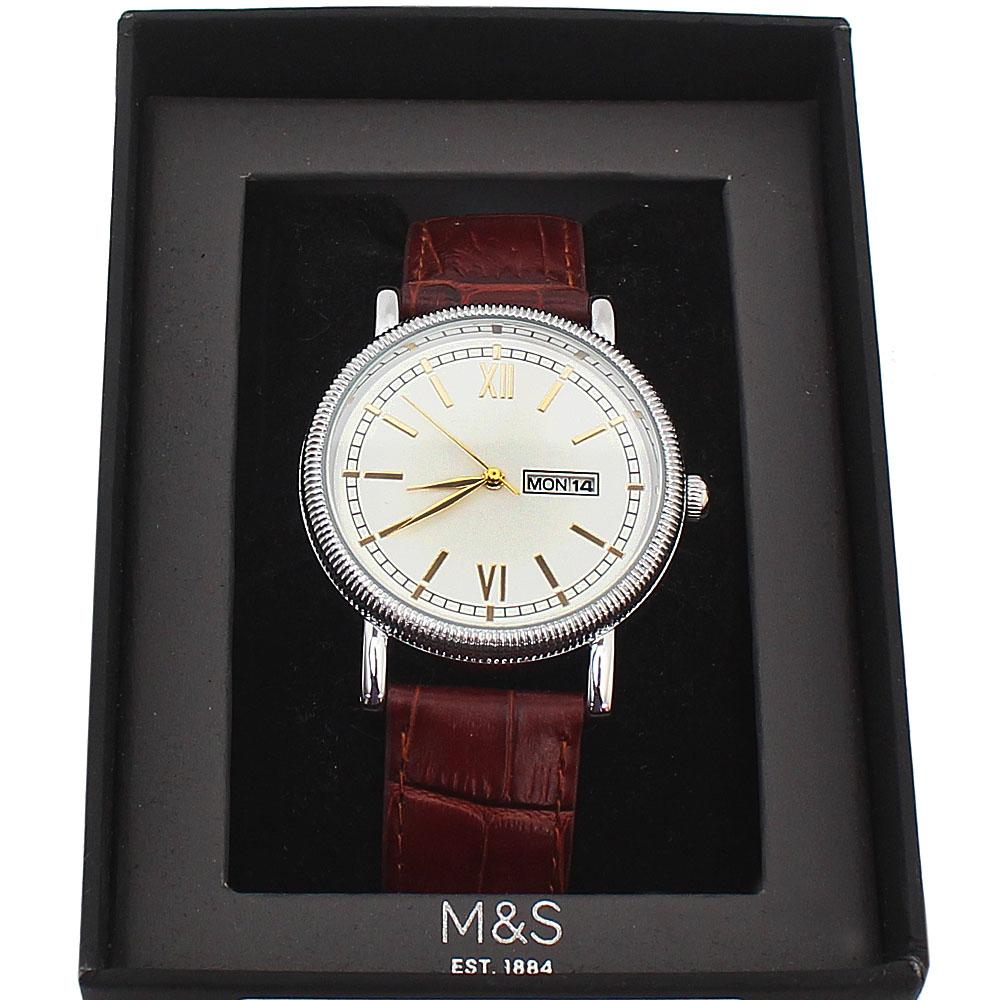 M & S Brown Leather Men Watch  -comes in wholesale case