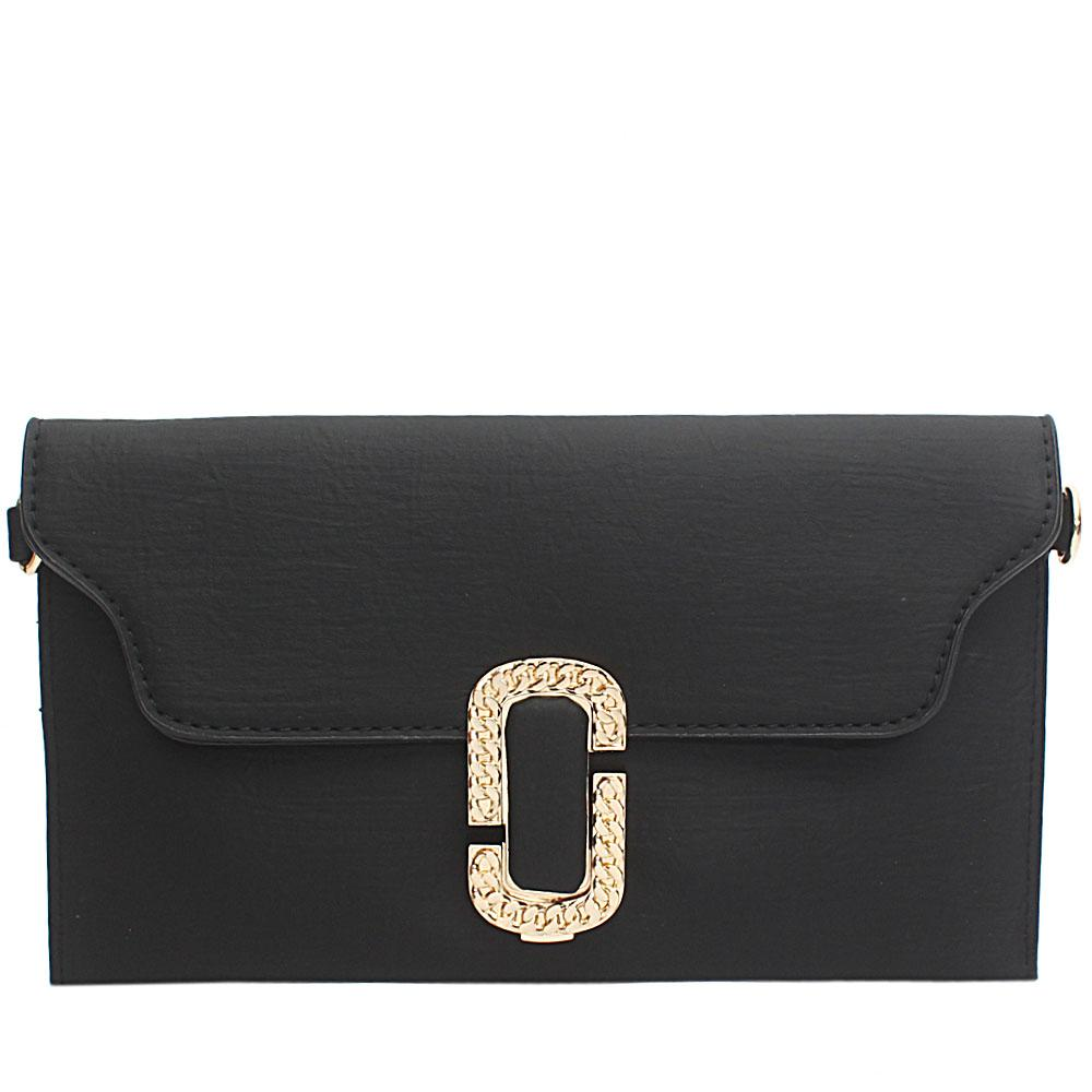 Black Sylvia Leather Flat Purse