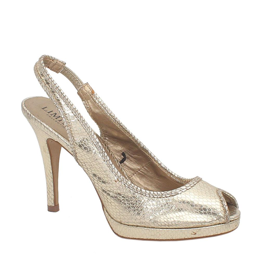 Limited Collection Gold Leather Ladies Heel Peep Toe Shoe