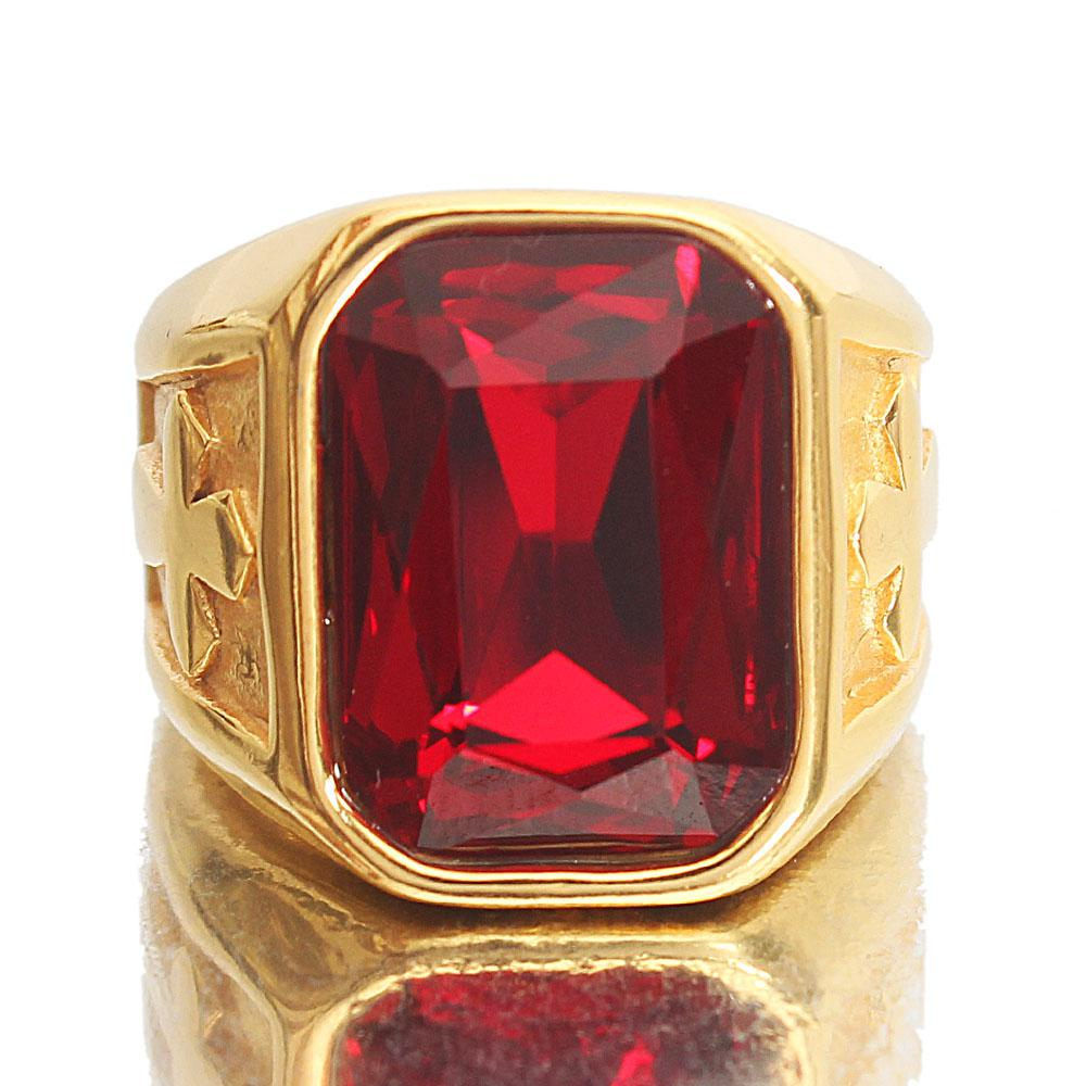 Gold Red Stoned Bishop Steel Ring