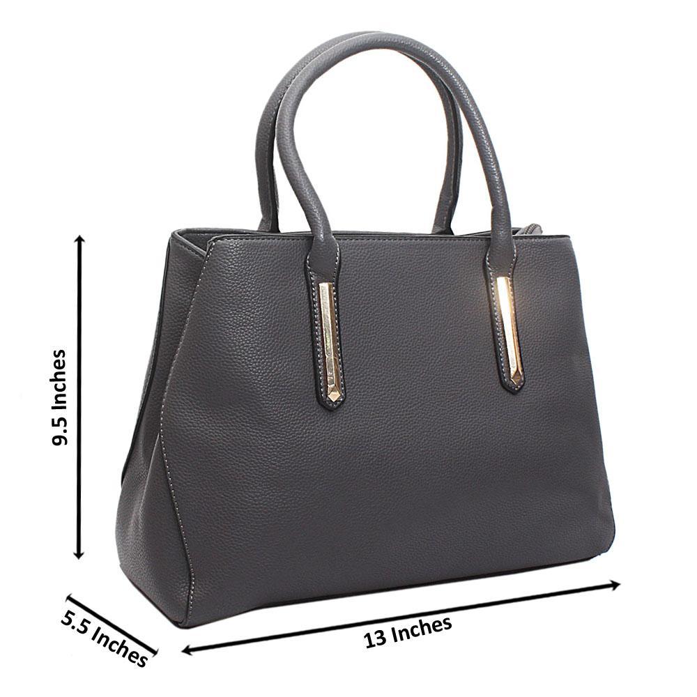 Grey Leather Medium Perry Handbag