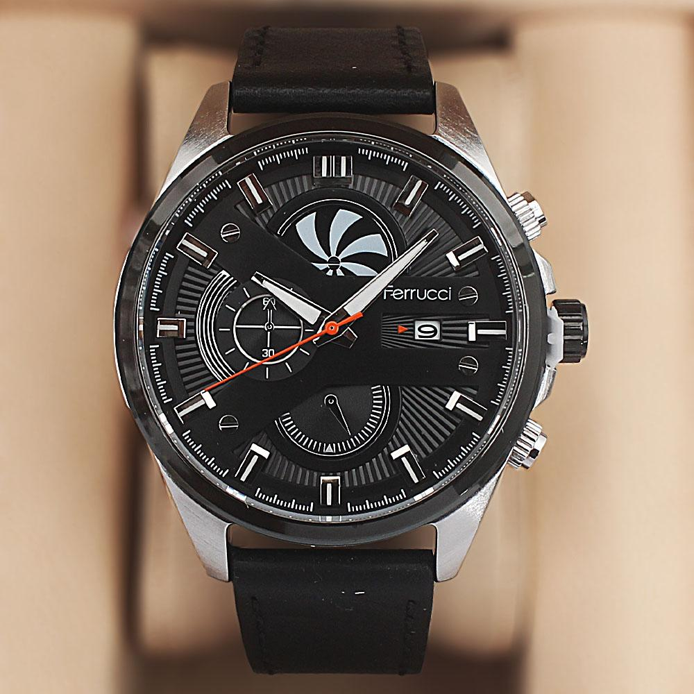 Ferrucci Speiral Black Leather Watch