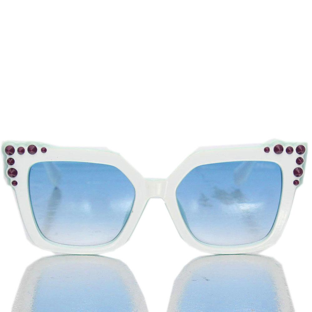 White Blue Lens Butterfly Sunglasses