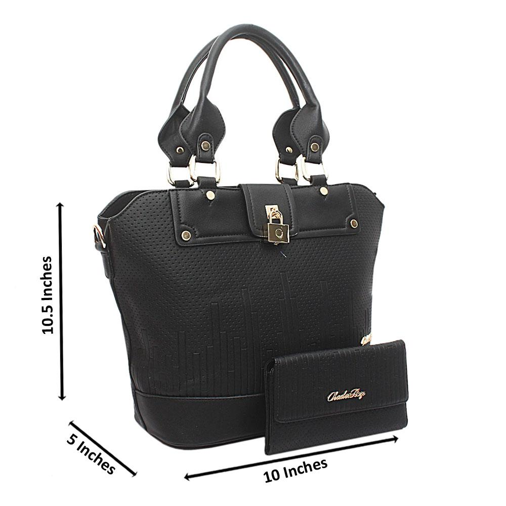 Black Kador Bag Leather Handbag wt Purse