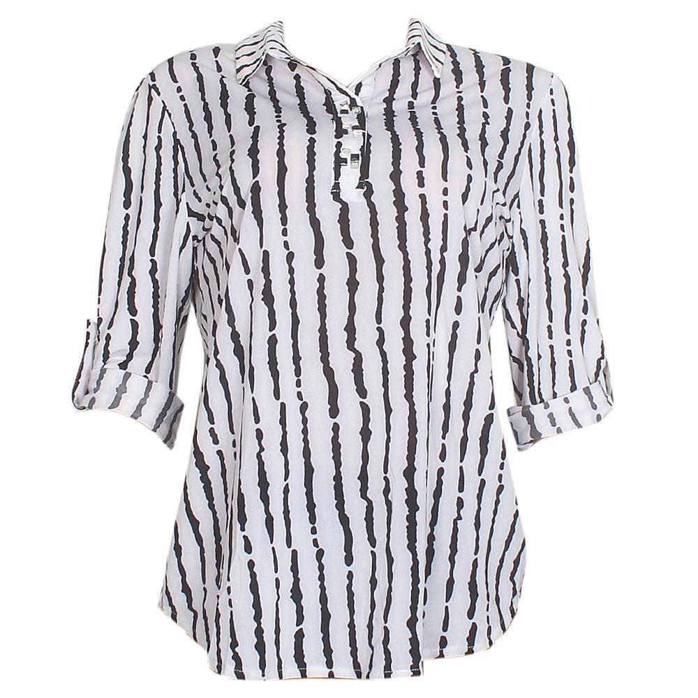 Monochrome Cotton L/Sleeve Ladies Top