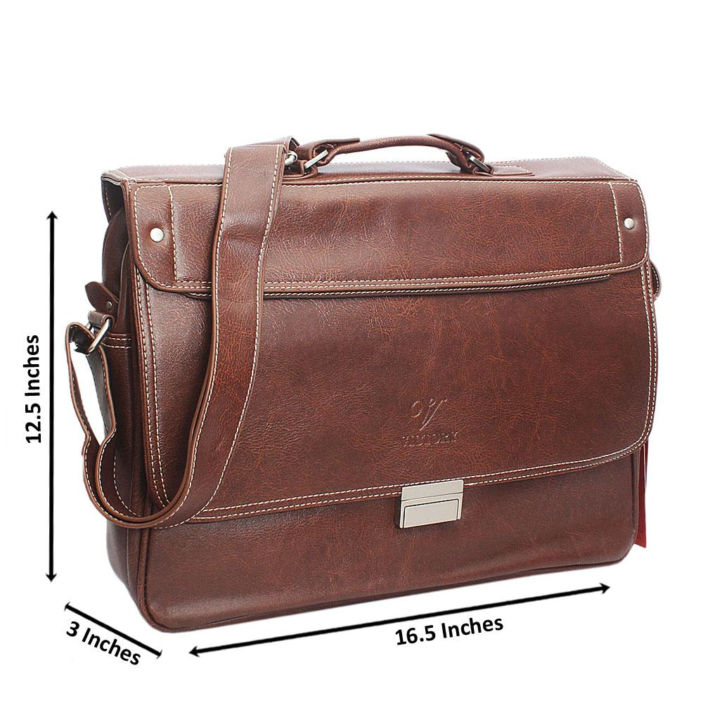 Brown Threaded Clipped Leather Briefcase