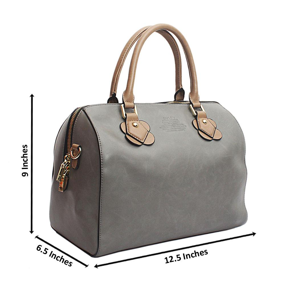 Susen Grey Medium Boston Leather Handbag