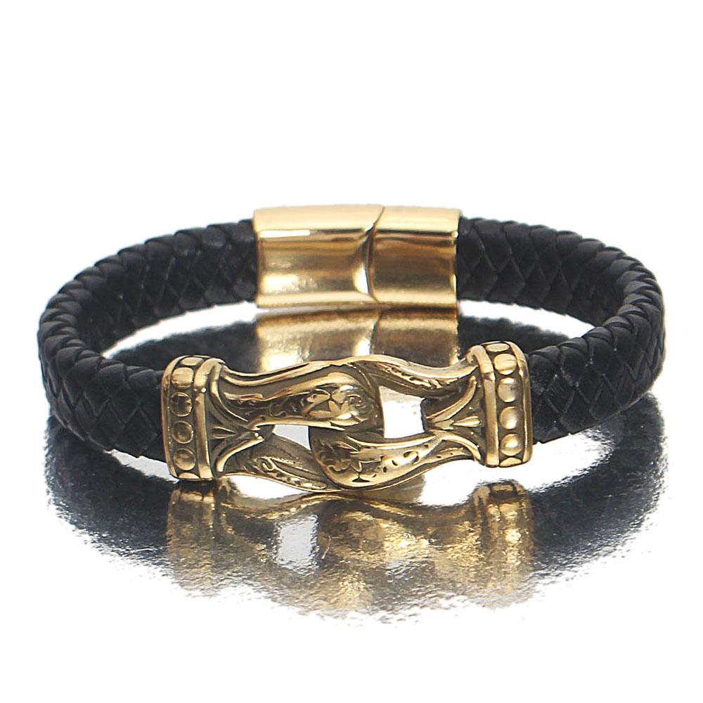 Gold Black Claw Leather Bracelet