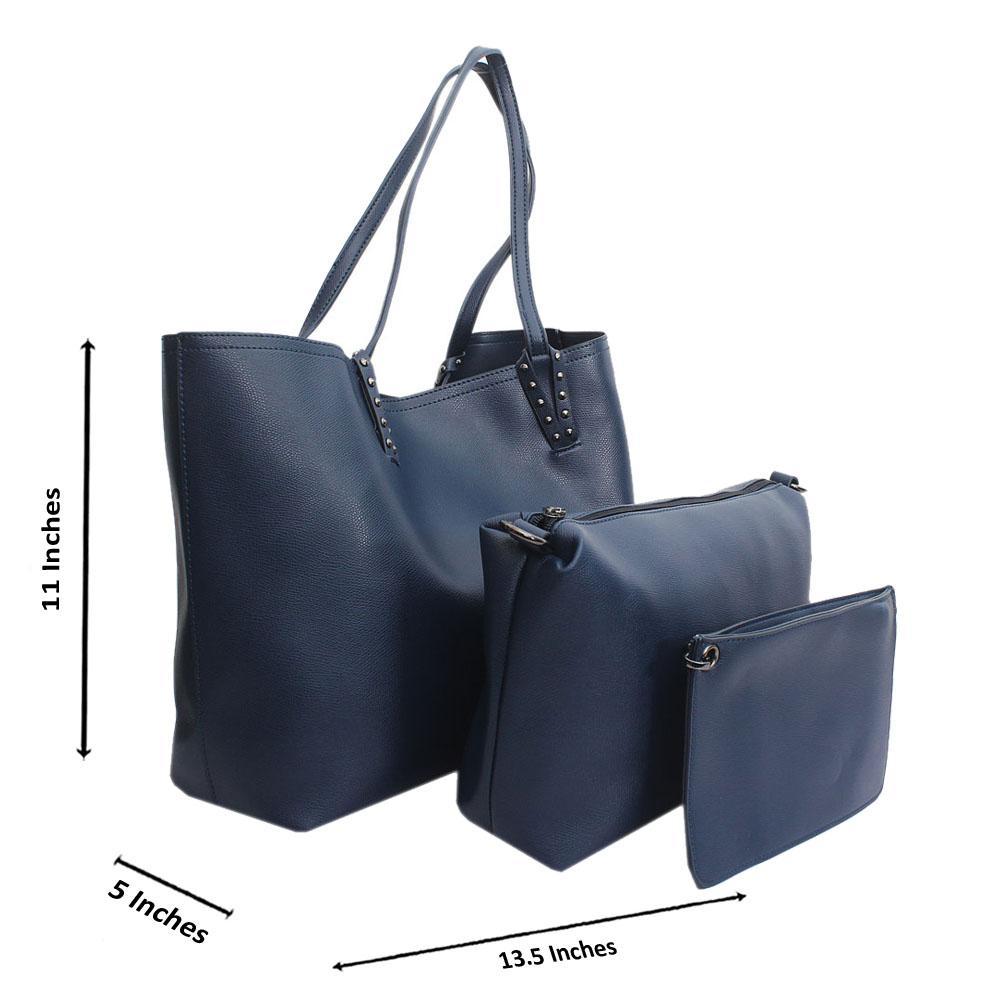 Navy Leather Medium 3 in 1 Handbag